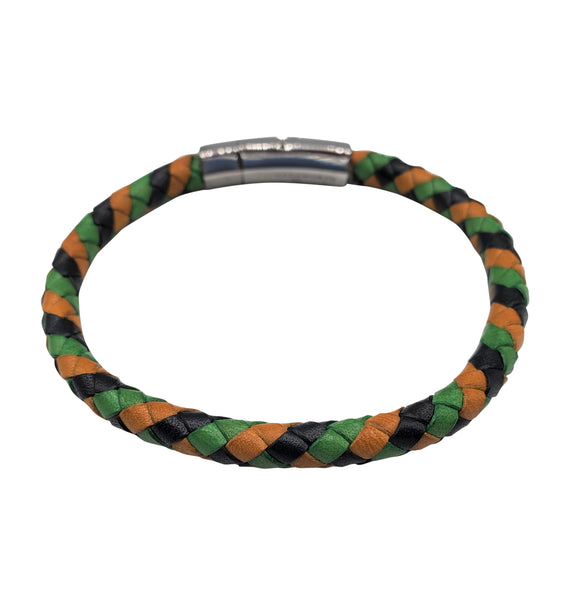 Multicolored Yellow Green Blue Braided Leather Bracelet