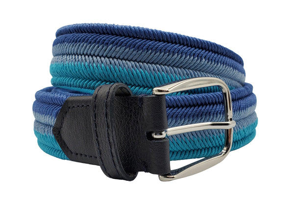 Blue Multi Colored Waxed Cotton Striped Stretch Belt