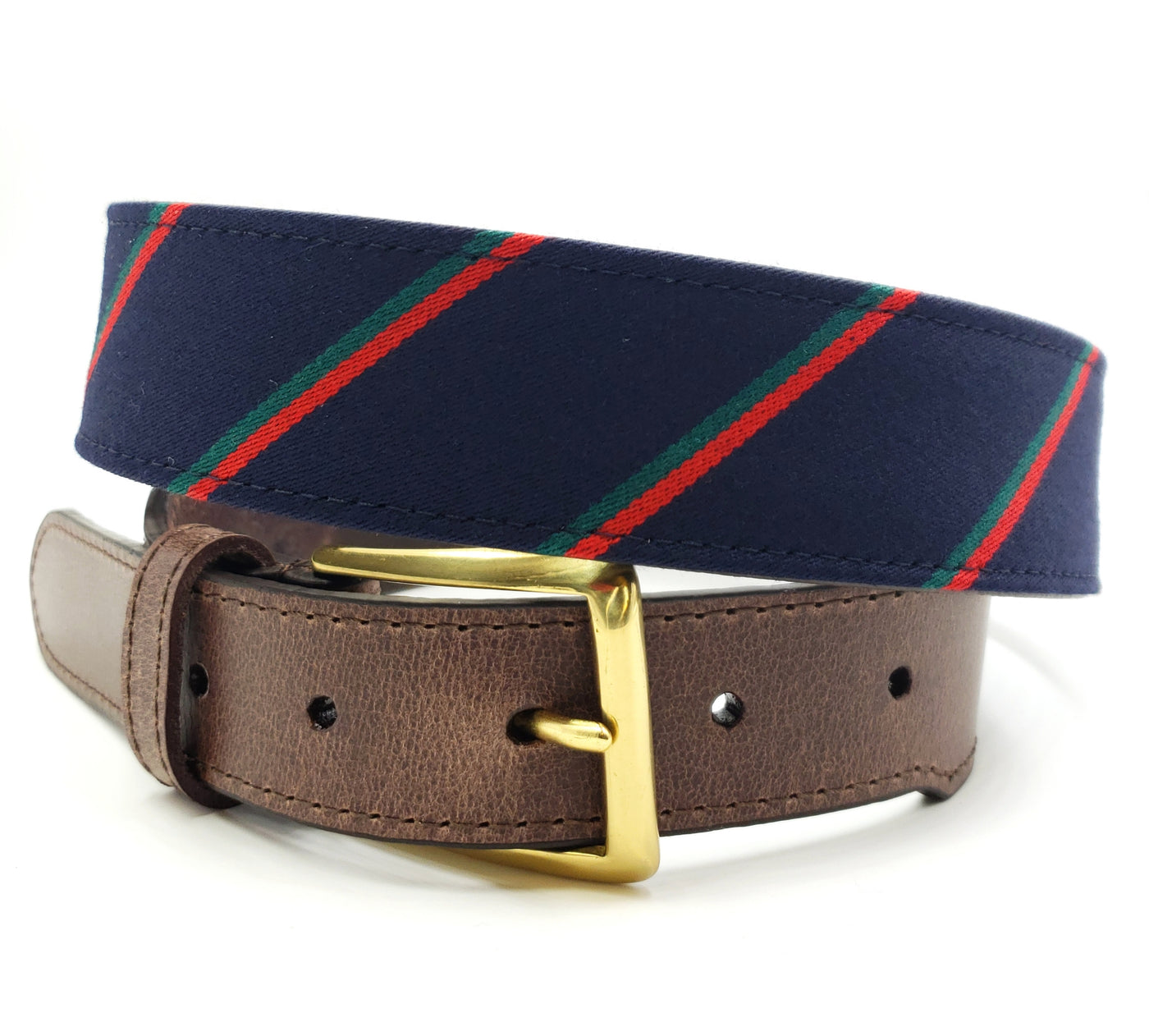 Navy Green Red Striped Belt - FH Wadsworth