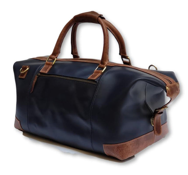 Maidstone Blue Leather Duffle Bag - FH Wadsworth