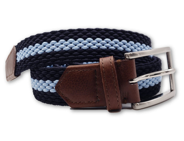 Navy & Carolina Blue Striped Elastic Stretch Belt - FH Wadsworth