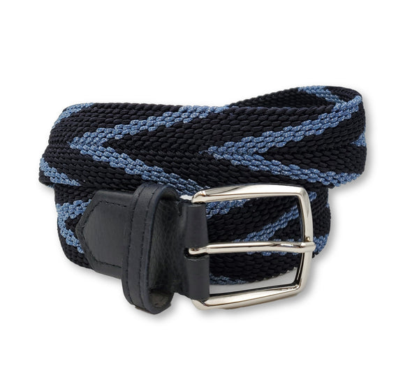 Navy & Light Blue Striped Elastic Stretch Belt - FH Wadsworth