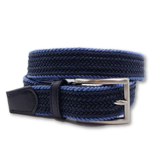 Woven Blue Cotton Belt - FH Wadsworth