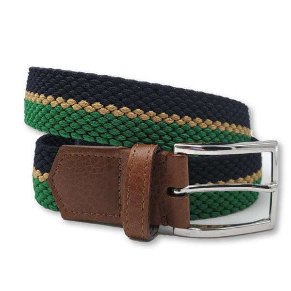 Navy Gold & Green Striped Elastic Stretch Belt - FH Wadsworth