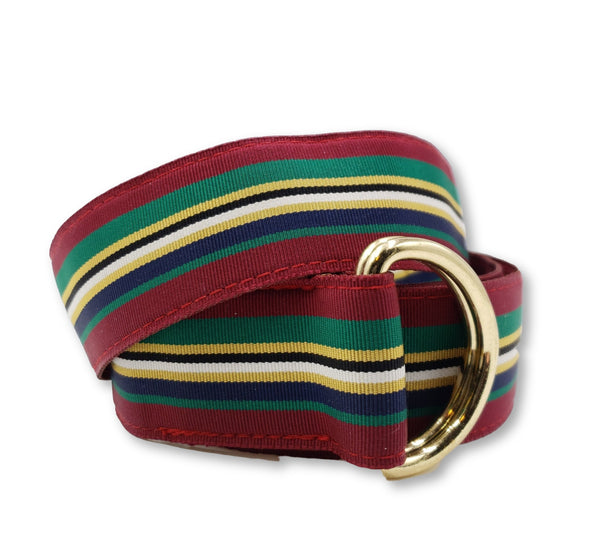 Multicolored Maroon Green Gold Ribbon Belt - FH Wadsworth