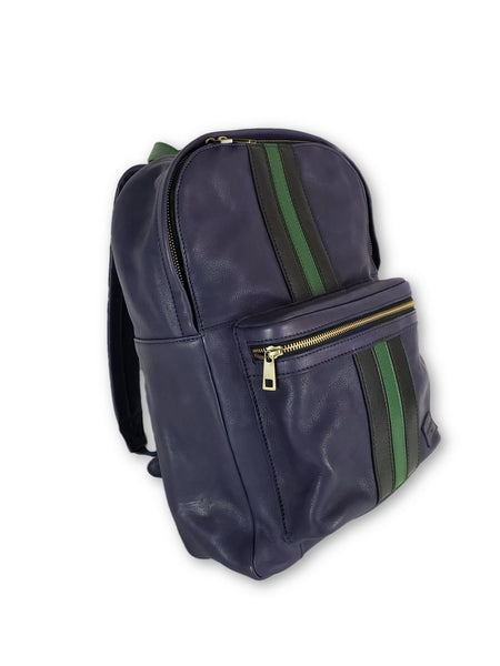 Purple Leather Striped Backpack - FH Wadsworth