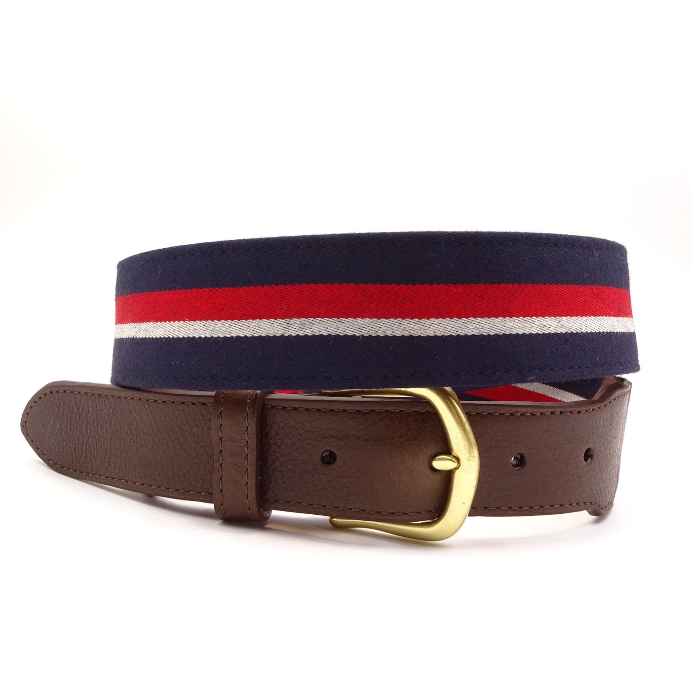 Red White Blue Striped Wool Leather Tab Belt - FH Wadsworth