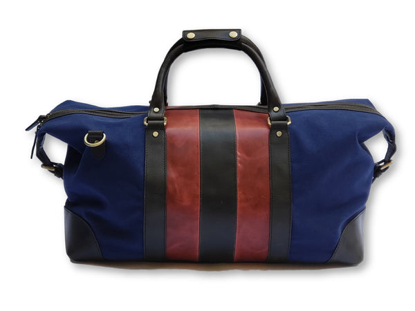 Red & Black Leather Striped Canvas Duffle Bag - FH Wadsworth