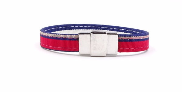 Red & Blue Striped Ribbon Bracelet - FH Wadsworth