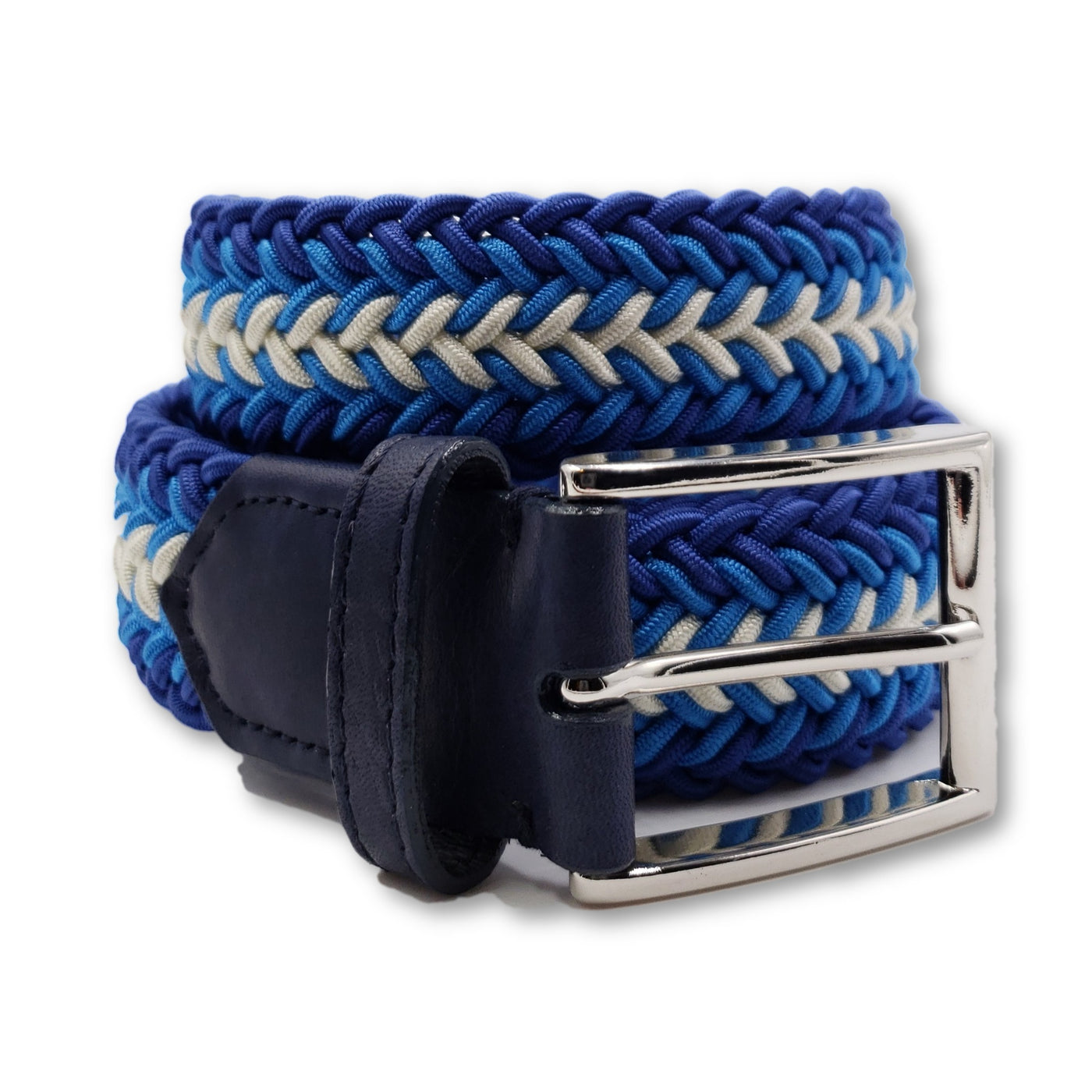 Royal Blue & White Braided Elastic Stretch Belt - FH Wadsworth