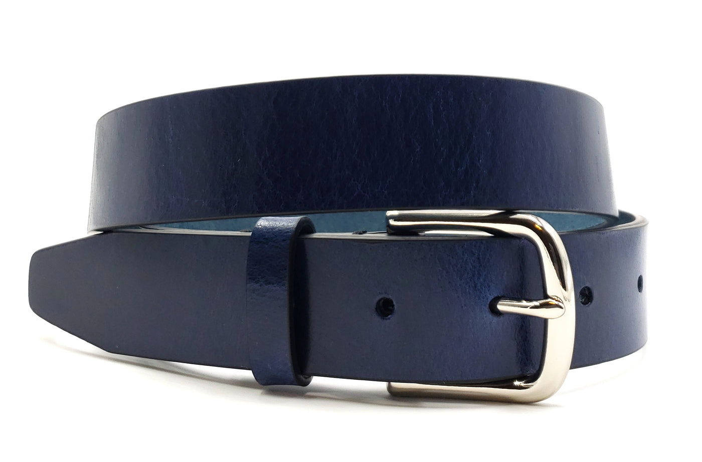 Solid Blue Leather Belt - FH Wadsworth