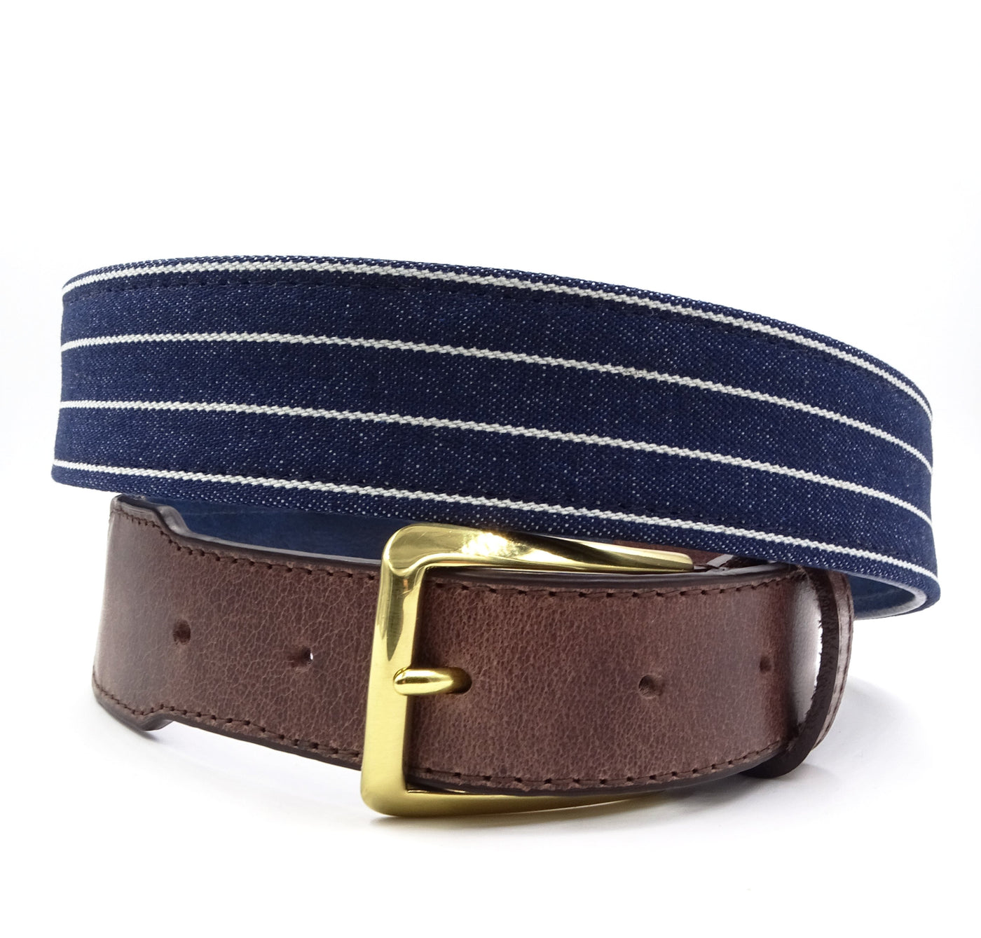 Striped Denim Leather Tab Belt - FH Wadsworth