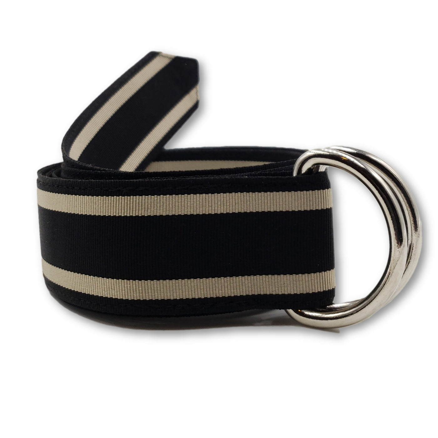 Black & Khaki Striped Ribbon Belt - FH Wadsworth