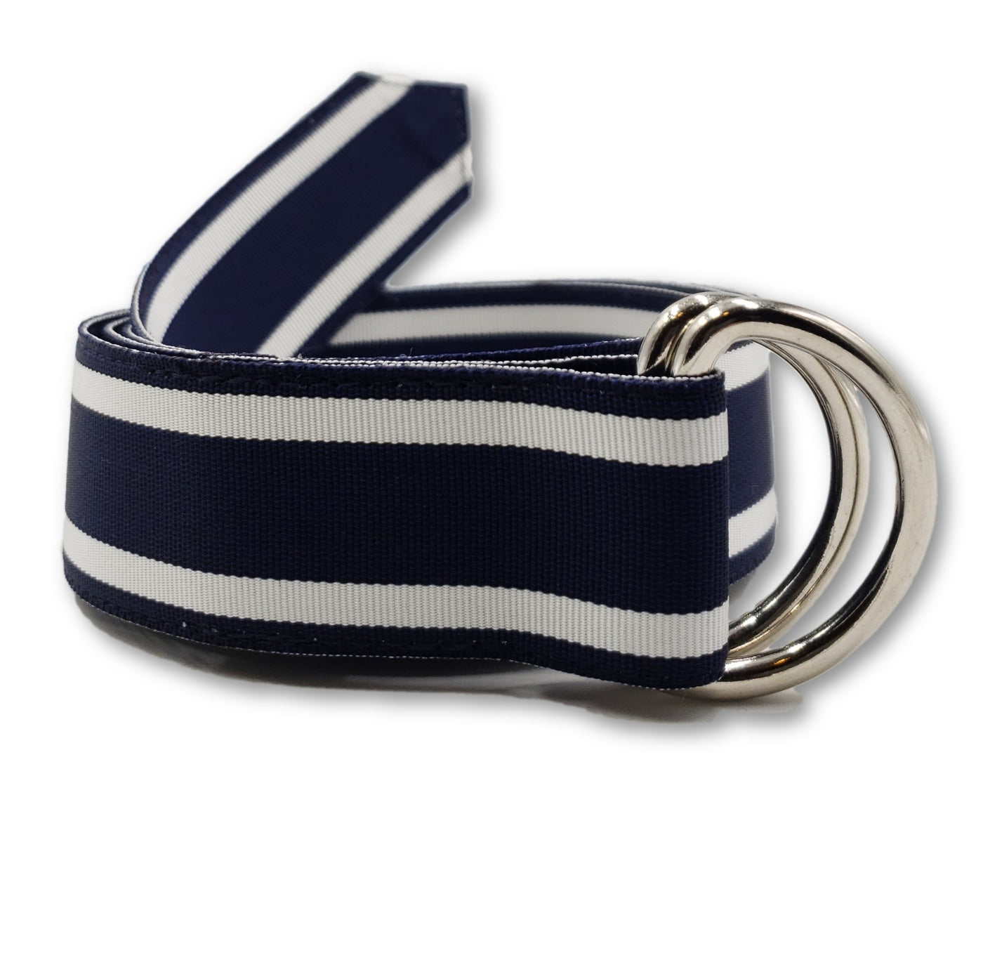 Navy & White Striped Ribbon Belt - FH Wadsworth