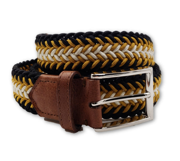 Black Gold White Braided Elastic Stretch Belt - FH Wadsworth