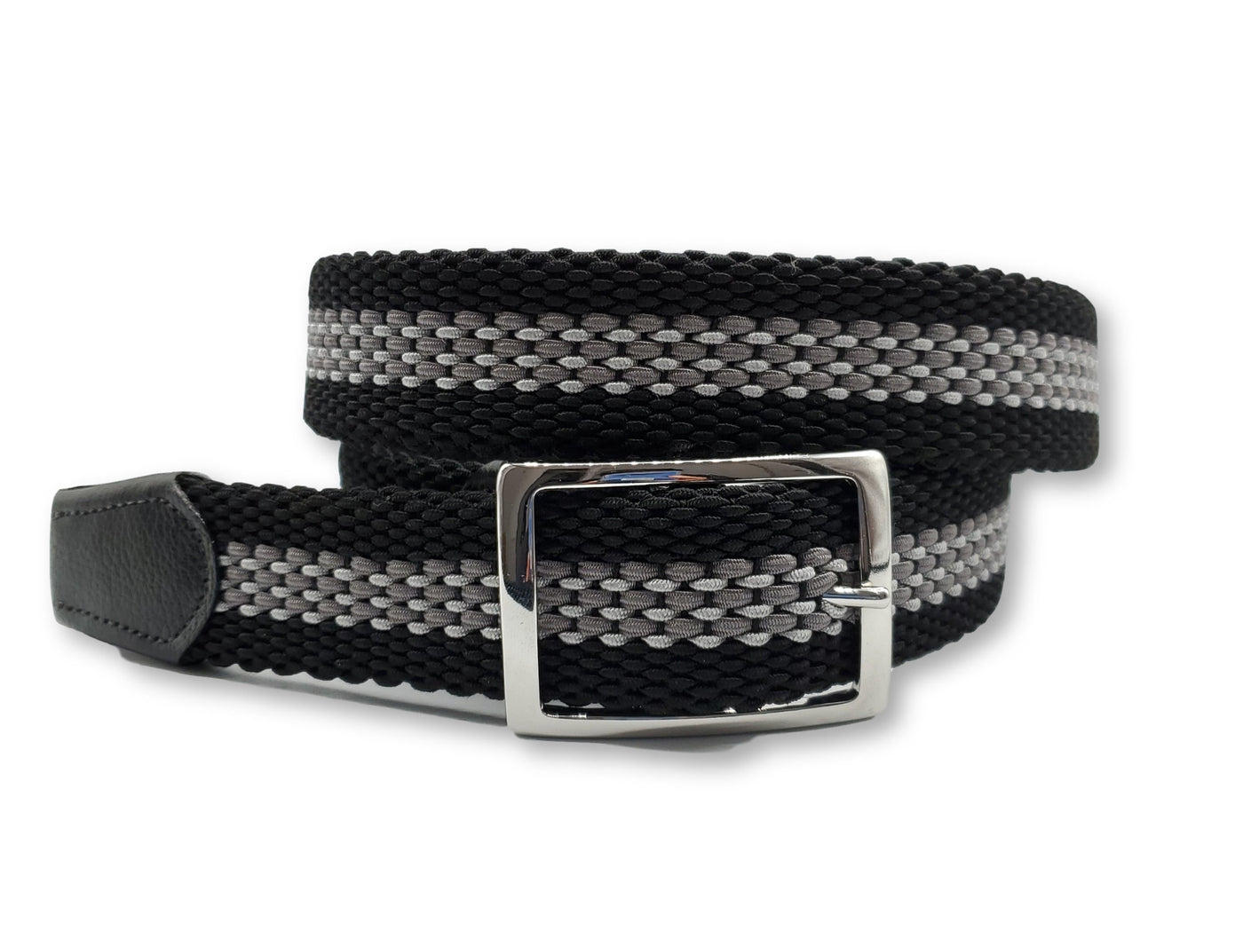 Black Grey & White Striped Reversible Elastic Stretch Belt - FH Wadsworth