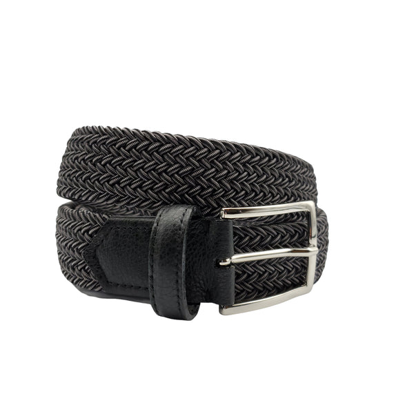 Black & Grey Elastic Stretch Belt