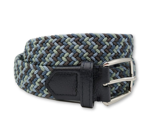 Blue & Light Green Multi Colored Interwoven Elastic Stretch Belt - FH Wadsworth