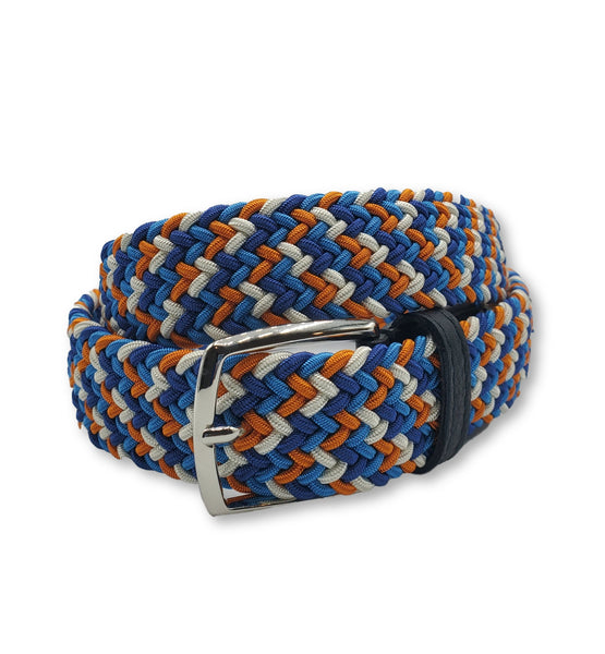 Blue & Orange Multi Colored Interwoven Elastic Stretch Belt - FH Wadsworth