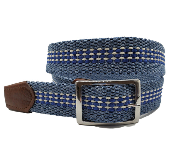 Blue & White Striped Reversible Elastic Stretch Belt - FH Wadsworth