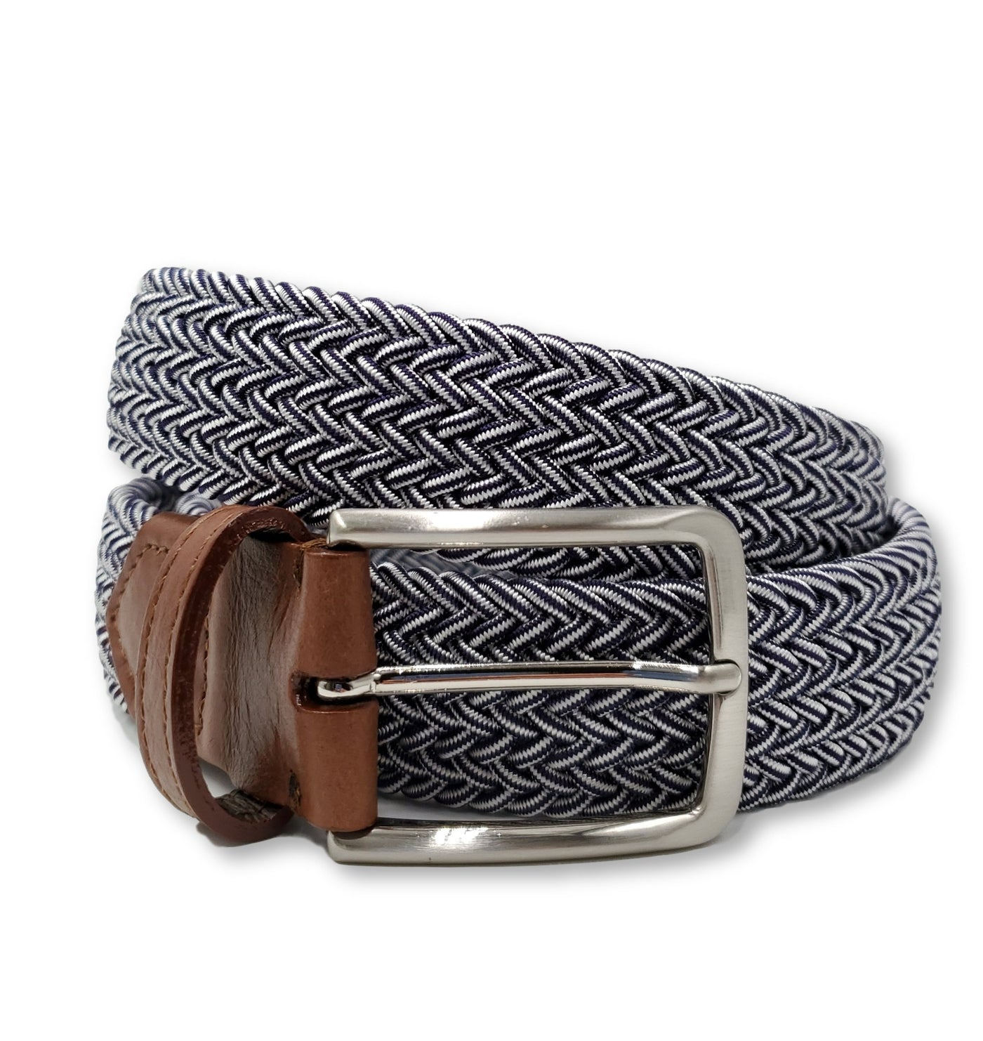 Blue & White Elastic Stretch Belt - FH Wadsworth