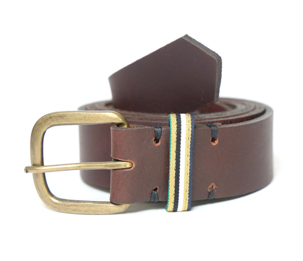 Brown Leather Belt with Ribbon Accent - FH Wadsworth