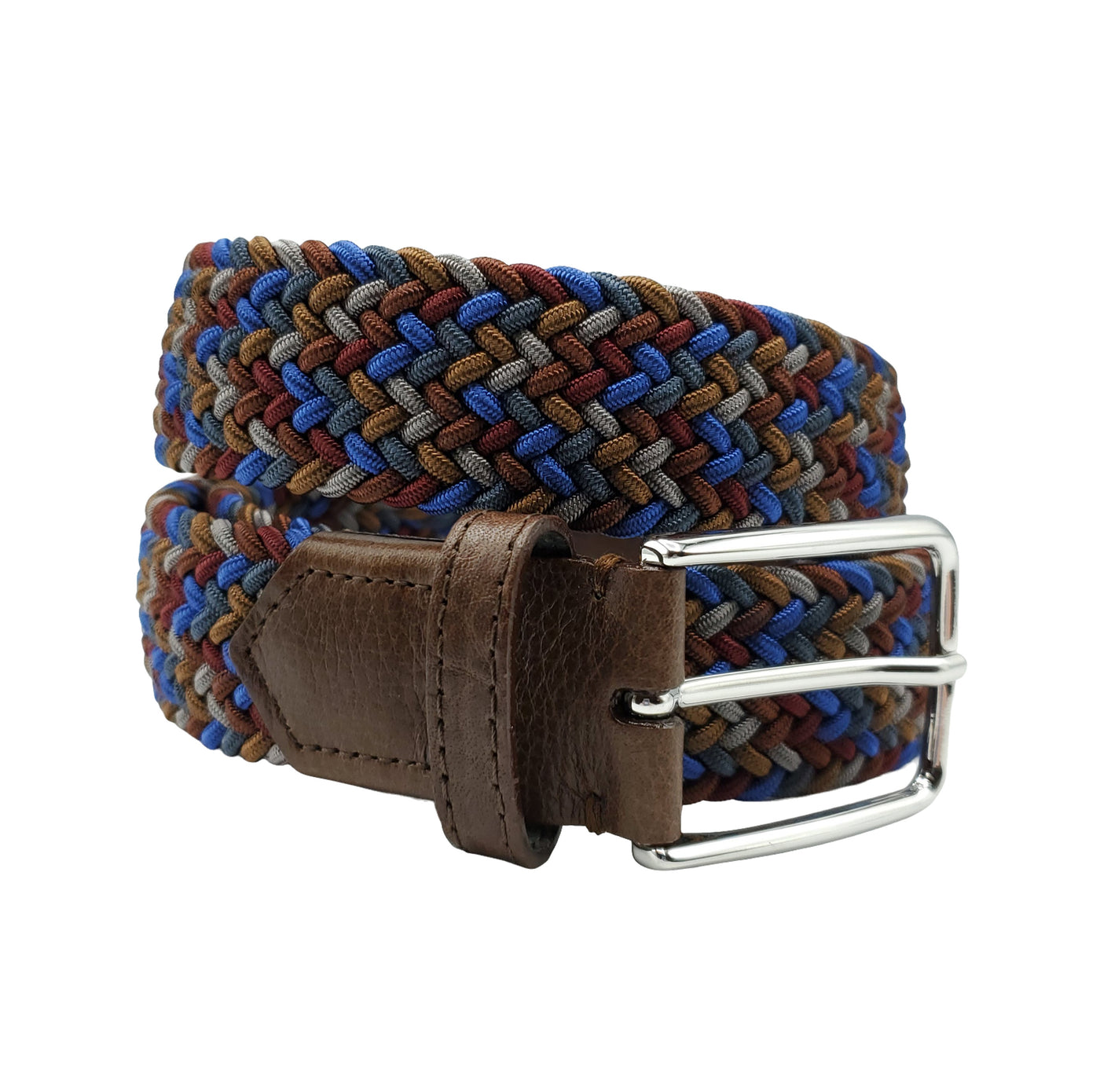 Brown Blue Burgundy Multi Colored Interwoven Elastic Stretch Belt