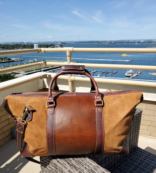 Brown Suede Leather Duffle Bag