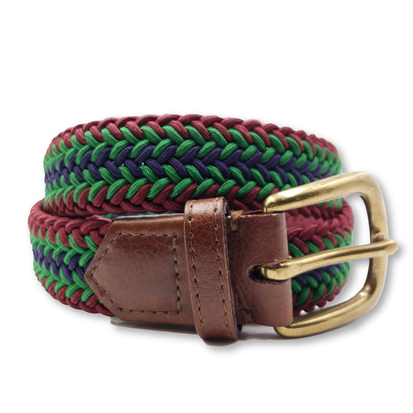 Maroon green purple Braided Elastic Stretch Belt - FH Wadsworth