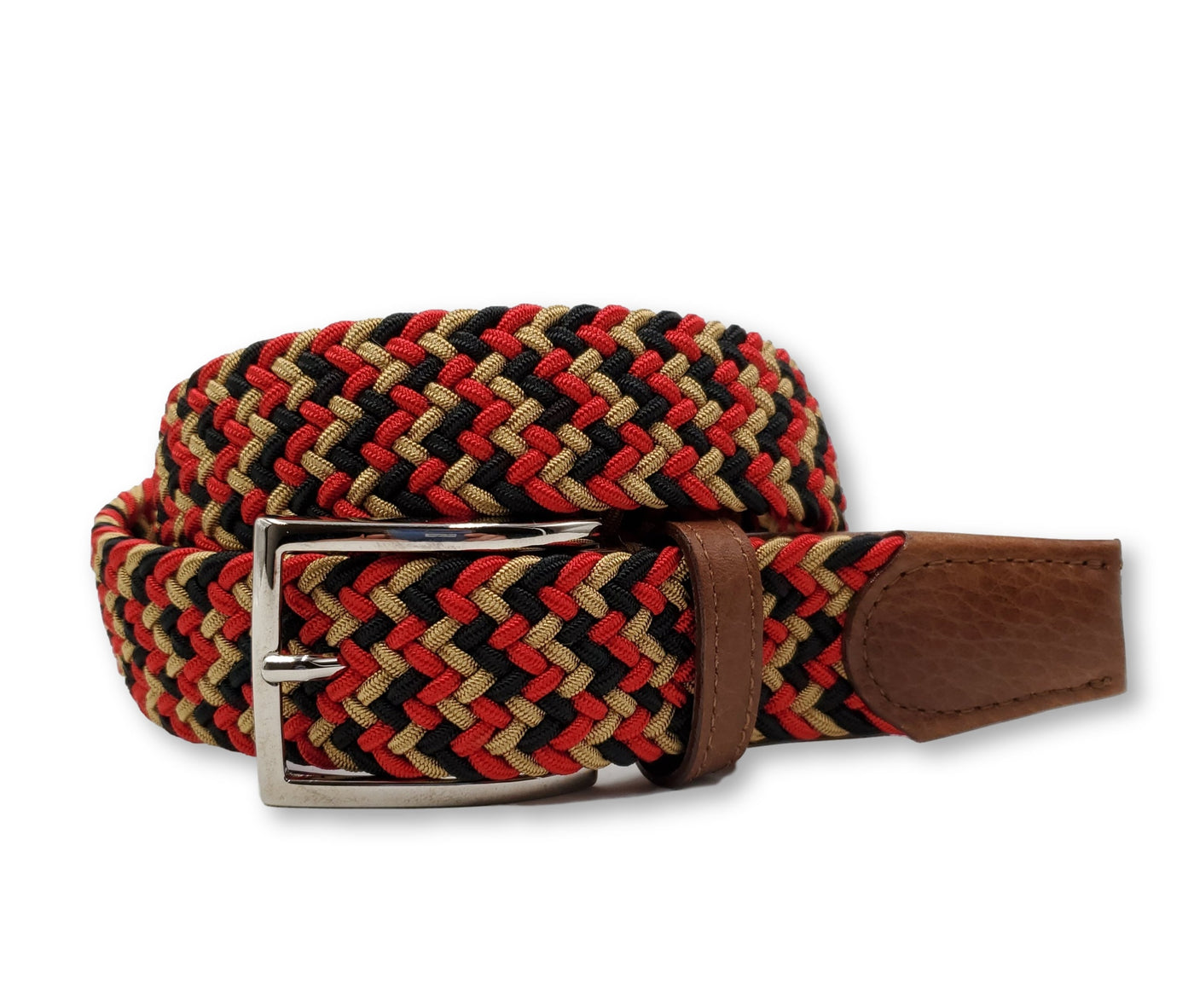 Red Black & Gold Interwoven Elastic Stretch Belt - FH Wadsworth