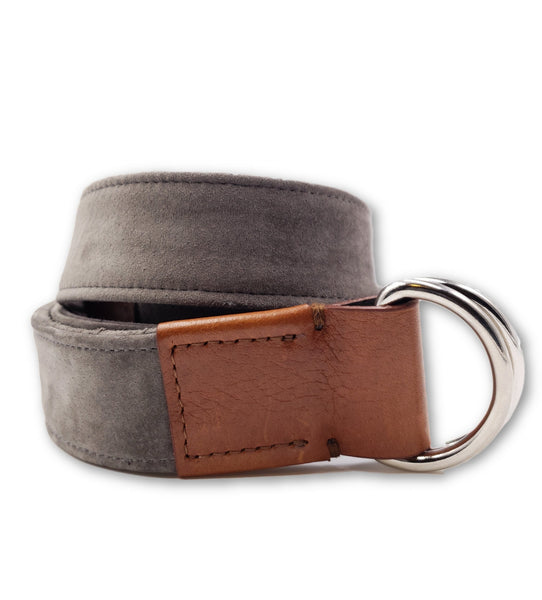 Grey Suede D Ring Belt - FH Wadsworth