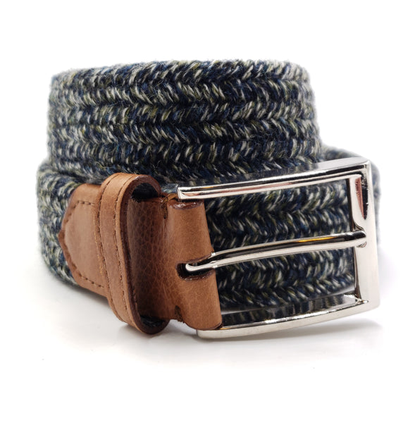 Green & Blue Multi Color Wool Stretch Belt - FH Wadsworth