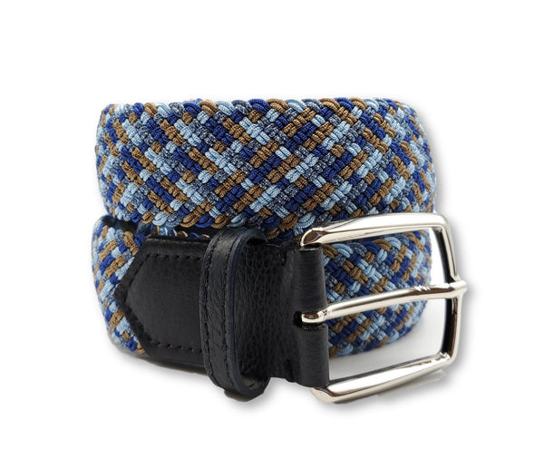 Blue Orange Interwoven Elastic Stretch Belt - FH Wadsworth