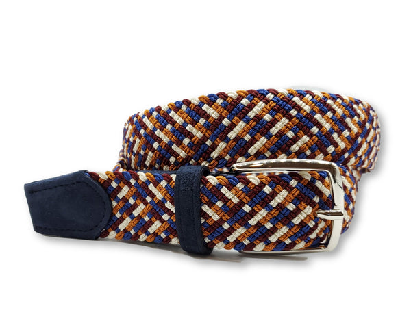 Maroon & Orange Interwoven Elastic Stretch Belt - FH Wadsworth