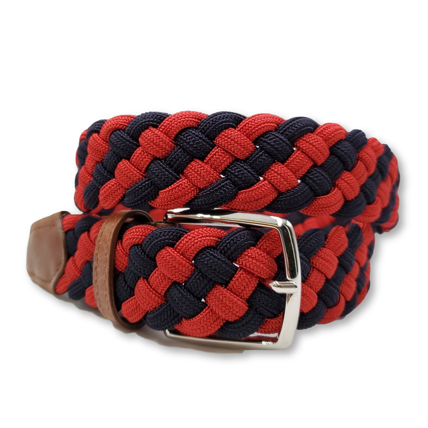 Navy & Red Braided Elastic Stretch Belt