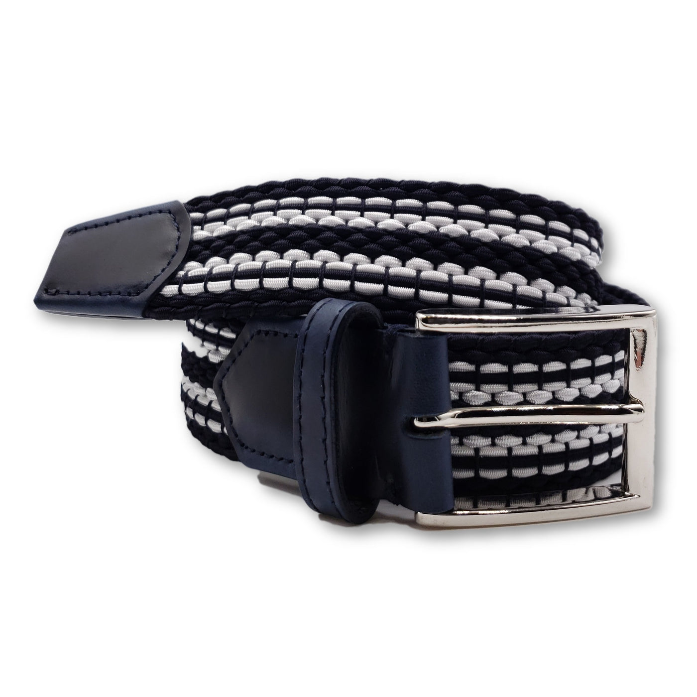 Navy & White Striped Elastic Stretch Belt - FH Wadsworth