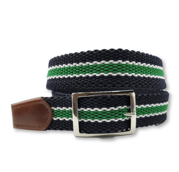 Navy Green White Striped Reversible Elastic Stretch Belt - FH Wadsworth