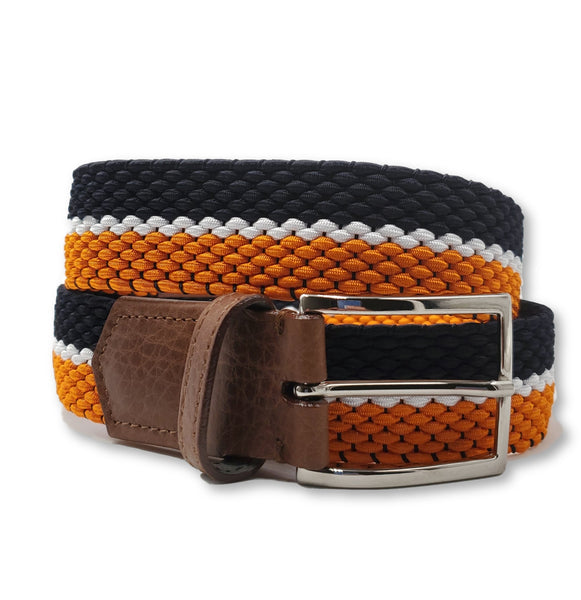 Navy White & Orange Striped Elastic Stretch Belt - FH Wadsworth