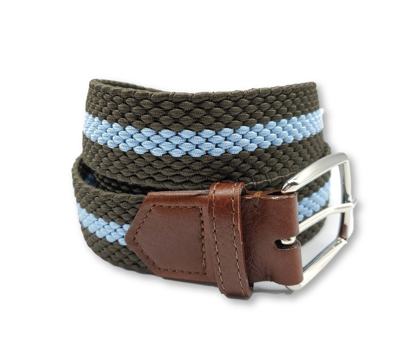 Olive & Blue Striped Elastic Stretch Belt - FH Wadsworth