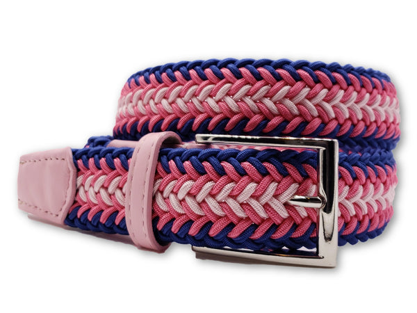Pink & Blue Braided Elastic Stretch Belt - FH Wadsworth