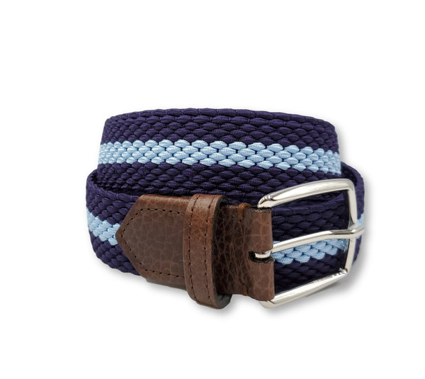 Purple & Light Blue Striped Elastic Stretch Belt - FH Wadsworth