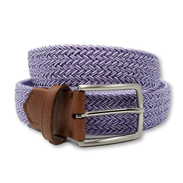 Purple & White Elastic Stretch Belt - FH Wadsworth