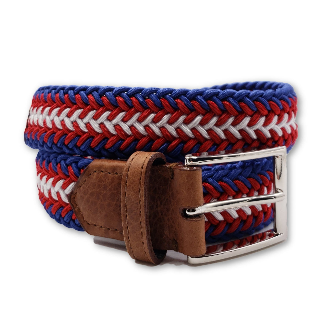 Red White Blue Braided Elastic Stretch Belt - FH Wadsworth
