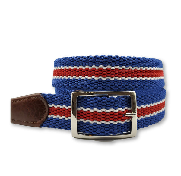 Red White Blue Striped Reversible Elastic Stretch Belt - FH Wadsworth