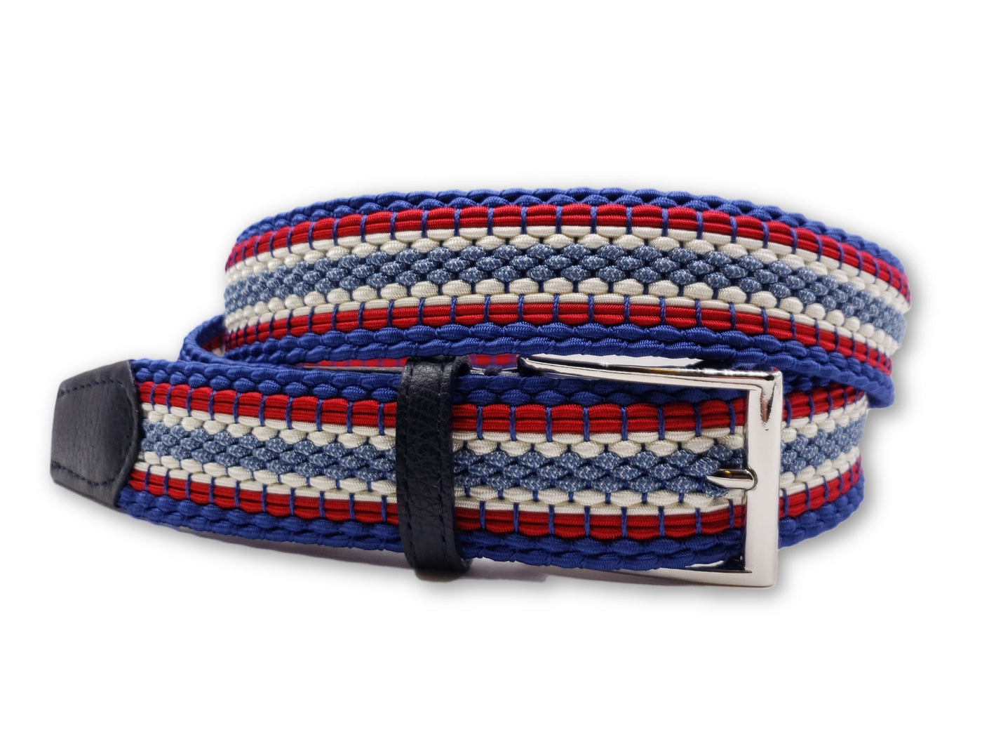 Red White Blue Striped Elastic Stretch Belt - FH Wadsworth