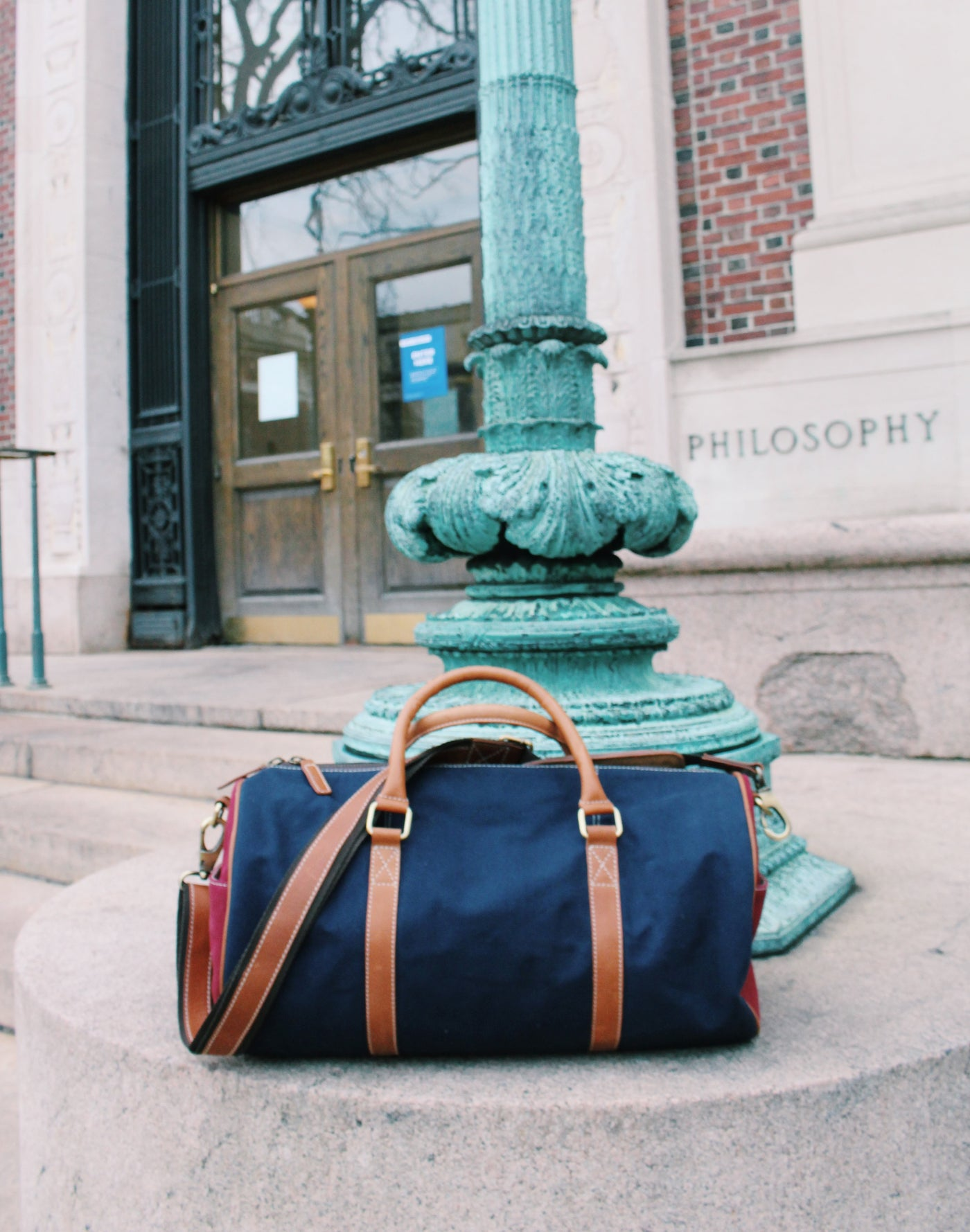 Navy & Burgundy Canvas Duffel Bag