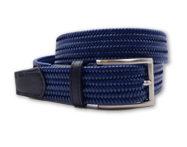 Blue Woven Leather Stretch Belt
