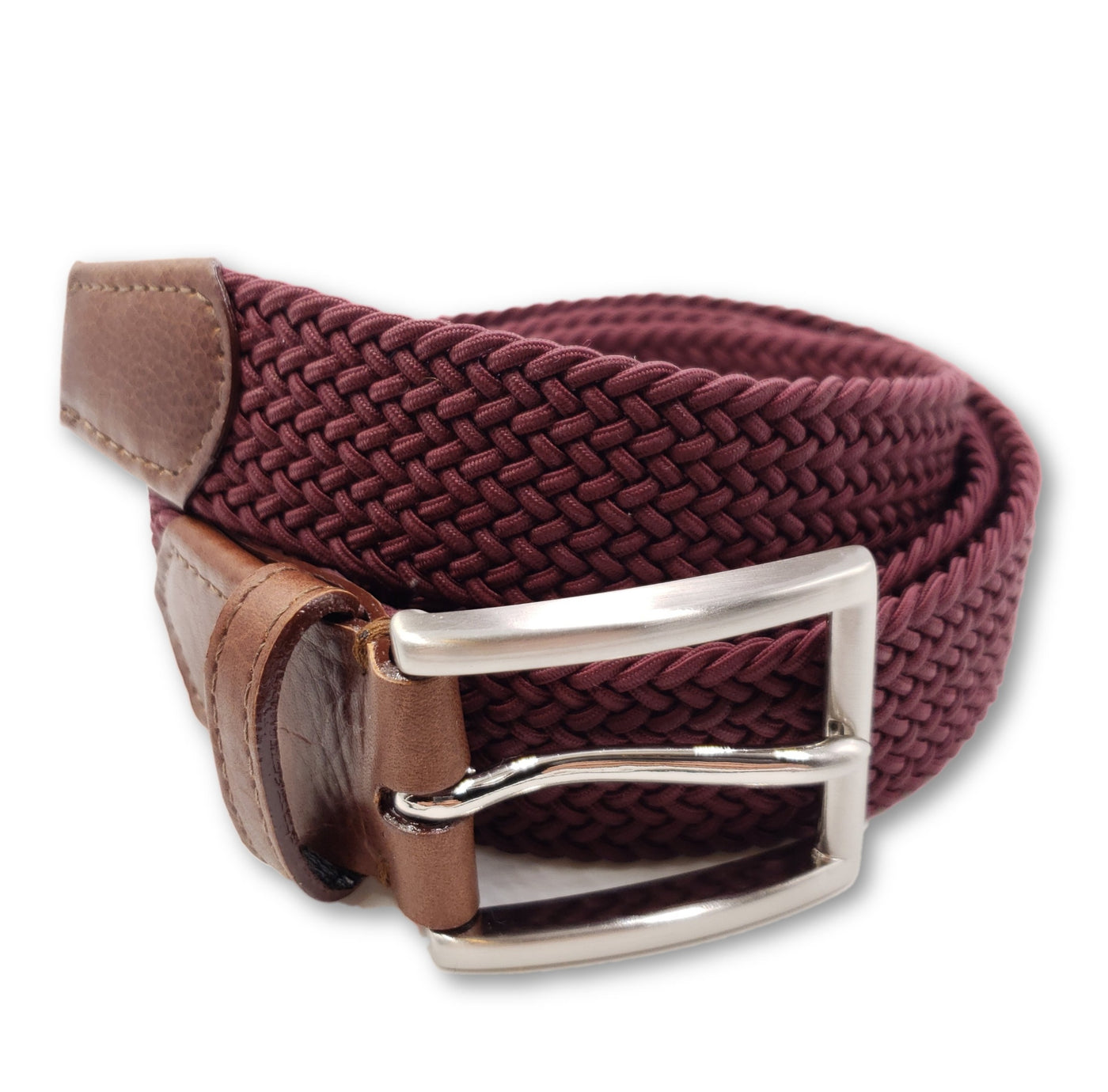 Solid Burgundy Elastic Stretch Belt - FH Wadsworth