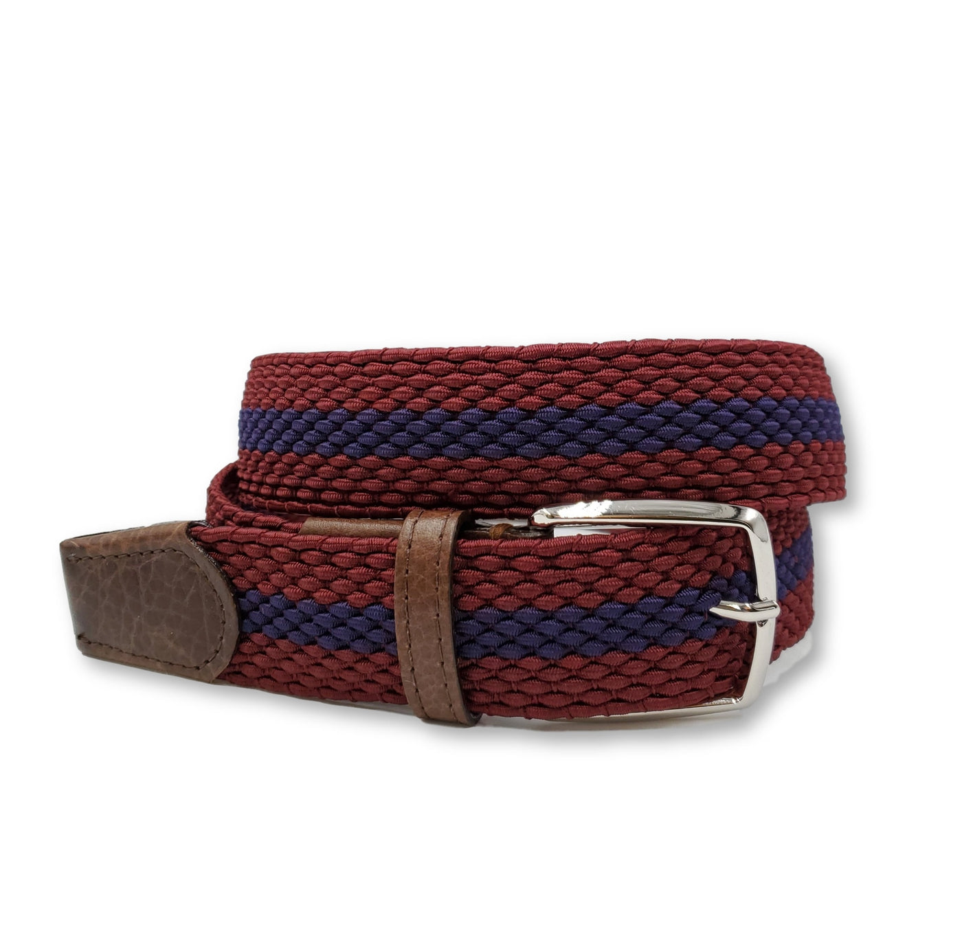 Burgundy & Purple Striped Elastic Stretch Belt - FH Wadsworth
