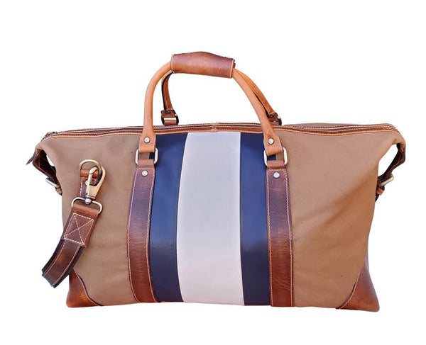 Leather Striped Canvas Duffel Bag